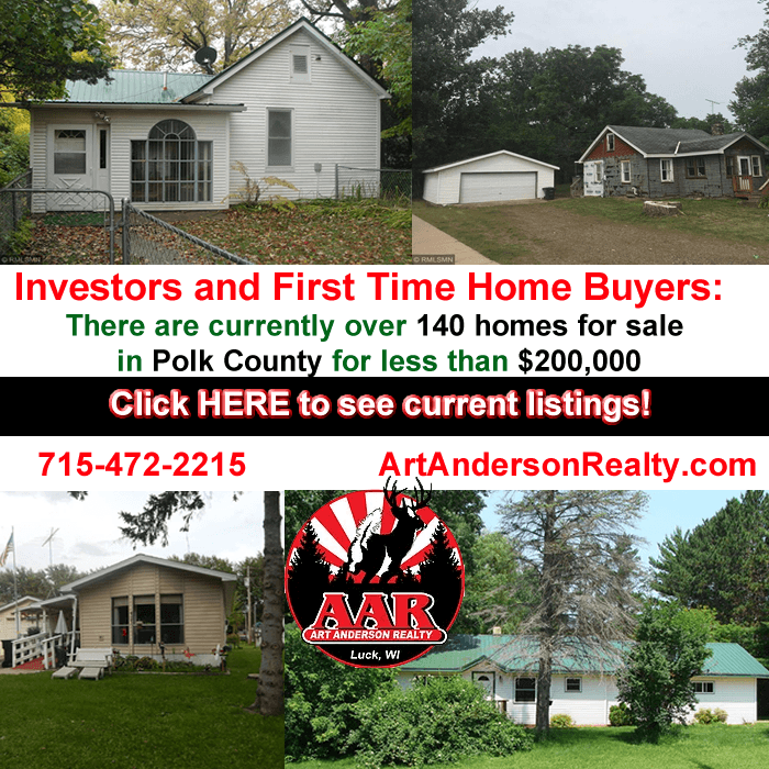 Investors and First Time Home Buyers Homes For Sale Polk County Wisconsin